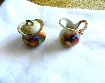 vintage miniature cream and sugar ENESCO JAPAN gold trim with fruit