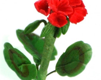 Miniature Polymer Clay Flowers Supplies for Dollhouse Red Geranium 3 stems