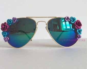 Eternal - Reflective Blue Purple Metal Flowers Floral Embellished Sunglasses Mirrored Sunnies