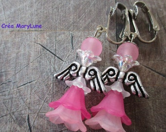 Earrings CLIPS for non-pierced Angel pink