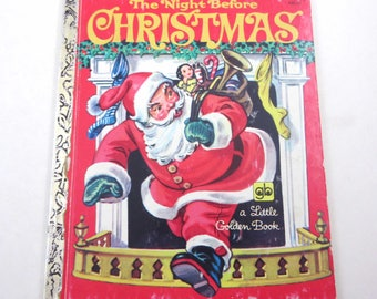 Vintage The Night Before Christmas Children's Little Golden Book Corinne Malvern Illustrator