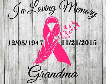 Loving Memory Awareness Ribbon Feather Birds memorial custom personalized decal - sticker -window - car - cling - tablet - laptop