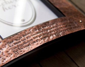custom copper & wood picture frame: hammered copper front with personalized quote (custom order)