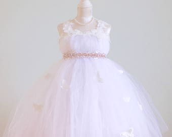 Princess Flower Girl Dress, Butterflies Flower Girl Dresses, Flower Girl Dress, Custom Wedding Dresses, Tutu Skirt Girls Dress