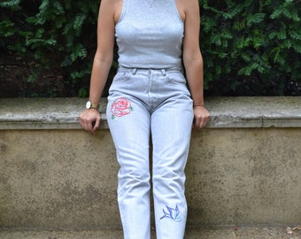 50% OFF SALE - VINTAGE Reworked Hand Embroidered Levi 501s