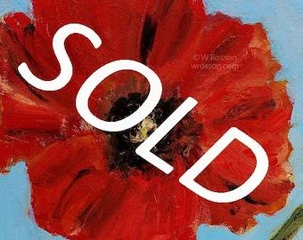 SOLD---------------------Poppy Painting, Red Poppy, Original Painting, Original Art, Winjimir, Home Decor,Painting, Spring, Garden Art, Gift