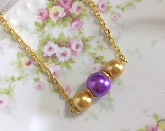 Beaded Bar Necklace, Purple and Gold Pearl Layering Necklace, KreatedbyKelly