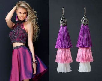 Layered Purple Tassels Earrings Long Earrings White Purple Pink Tassels Statement Earrings