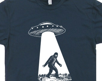 UFO Bigfoot T Shirt UFO Abduction T Shirt Sasquatch T Shirts Ufo T Shirts Cool Alien T Shirts Area 51 Mens Womens Kids Tees Funny T Shirts