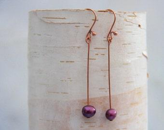 Rosegold Freshwater Pearl Earrings Long