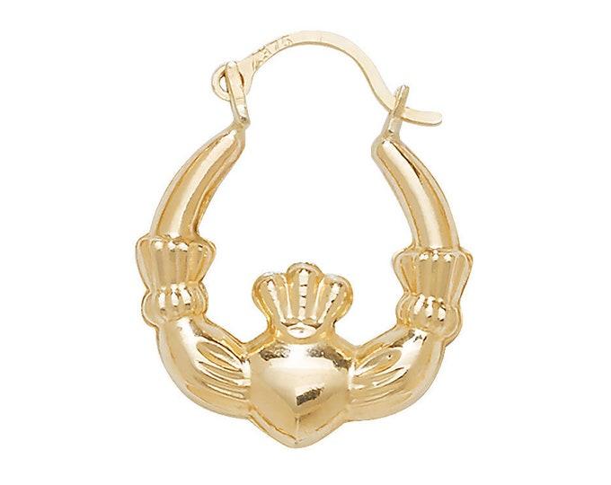 9ct Yellow Gold Hollow Irish Claddagh Creole Hoop Earrings 15mm 20mm 25mm