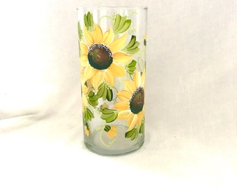 Free shipping Sunflower hand painted vase