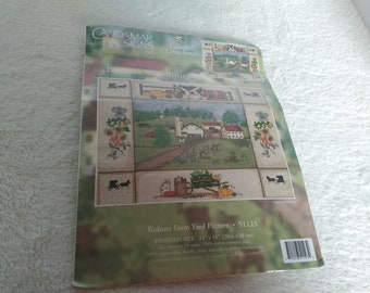Counted cross stitch farm yard picture