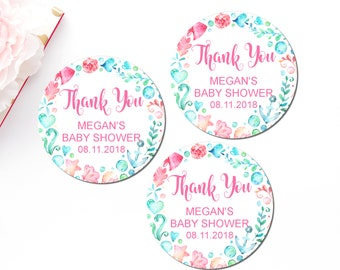Mermaid Baby Shower Favor Tags Printable, Personalized Favor Tags, Thank You Tags, Sea Creatures, Under The Sea, Gift Tags, C71