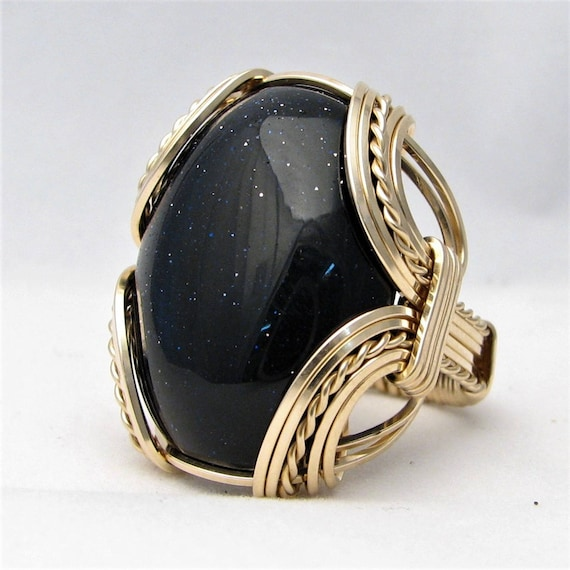 Handmade 14kt Gold Filled Wire Wrap Blue Goldstone Ring