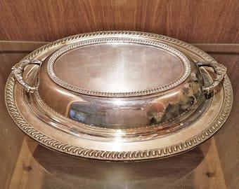 Oval Silver Covered Vegetable Serving Dish Platter