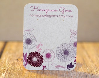 Personalized Earring Cards Purple Bird Flower Garden - Customized - Jewelry Display Cards