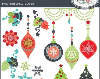 50%OFF Christmas clipart, Christmas ornament clipart, Christmas tree clipart, poinsettia clipart, folk Christmas clipart, P96