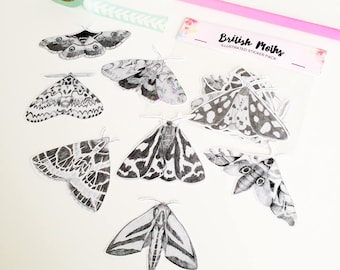 British Moth Stickers - Illustrated Sticker Pack - Sticker Set - Bullet Journal Stickers - Insect Stickers - Sticker Flakes - Hand Cut