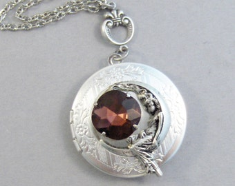 Garnet Goddess,Garnet Jewlery,Goddess Necklace,Goddess,Silver Locket,Moon Goddess,Vintage Rhinestone,Garnet Birthstone Valleygirldesigns