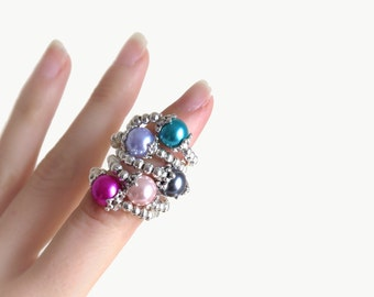 Pearl Silver Stretch Ring - 5 Colors Available