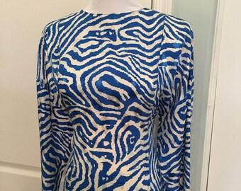 Vintage Lillie Rubin Blue Zebra Silk Blouse