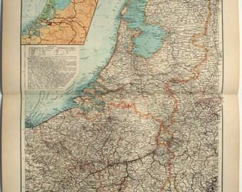 Netherlands & Belgium: Original 1896 Map by Velhagen and Klasing. Antique