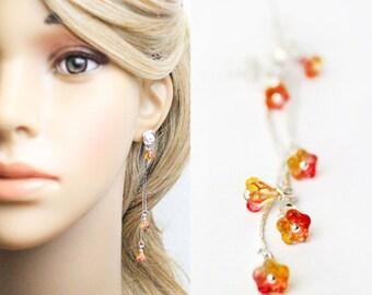 red-orange earrings summer jewelry flower earrings girls gifts bridesmaid red orange flower stud earrings bright jewelry for women L249