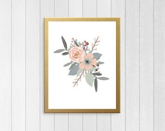 Blush Floral Printable - Dusty Blue Floral - Pastel Metallic Floral - Floral Home Office -  Floral Nursery Printable - Floral printable
