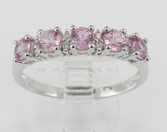 Diamond and Pink Sapphire Wedding Ring Anniversary Band 14K White Gold Size 8