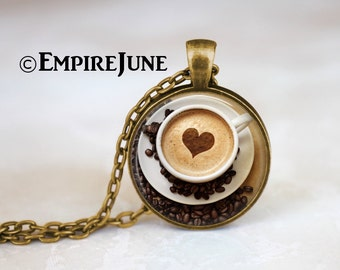 Cappuccino Heart Coffee Necklace, Coffee Jewelry, Antique Bronze Heart Necklace, Coffee Lover, Hot Chocolate Art Print Necklace Gift, ZM16-3