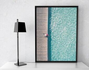 swimming pool print, aerial pool print, summer print, aerial pool photography, swimming pool water,  summer poster, swimming pool art, drone