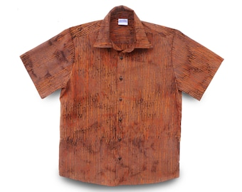 Buttondown Mens Shirt, Casual Stripe Batik, Orange on Brown Cotton, One-of-a-kind Gift for Him