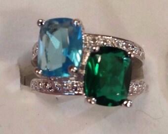 Emerald Quartz & Blue Topaz Gemstone Sterling Silver Plated Ring, 4 ct.  Size - 6