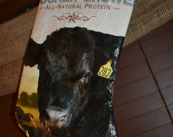 Recycled feed sack christmas stocking decor cattle/cow/black angus/farm/country