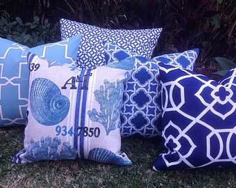 Outdoor Cushions Outdoor Pillows Beach House Hampton's Style Blue and White Cushions, Blue Outdoor Cushion Covers.