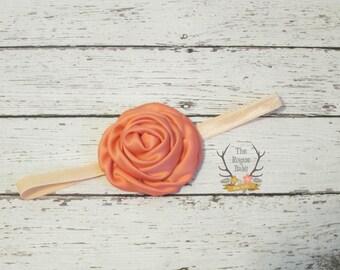 Coral & Peach Headband - Baby Wedding Flower Girl Photo Prop - Newborn Girls Adult