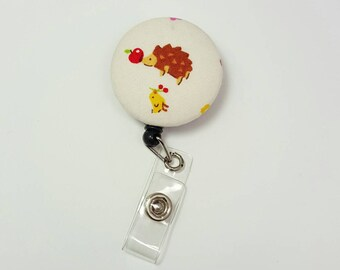 Retactable ID Badge Reel / ID Badge Holder / Name Badge Clip / Badge Pull / Button Badge Holder - Little Hedgehog