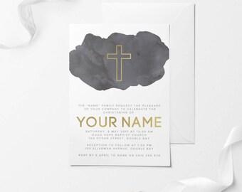Baptism Invitation, Printable Baptism Invitation, DIY Baptism Invitation, Christening Invitation, Printable Christening Invitation, Baptism