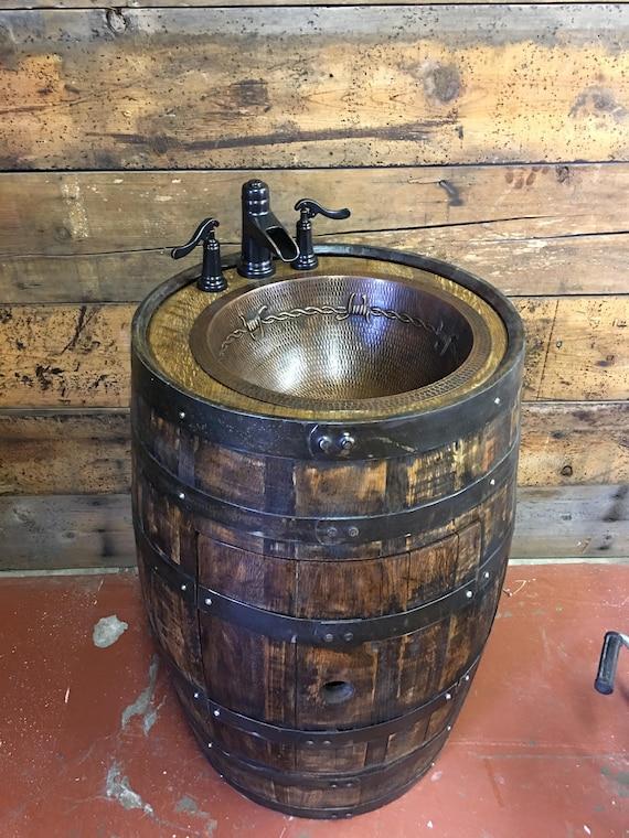 Rustic Whiskey Barrel Bathroom Vanity With Copper Sink Vanity