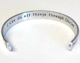 Philippians 4 13 Bible Verse Bracelet ~ I can do all things through Christ ~  cuff scripture jewelry