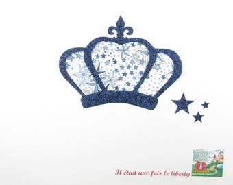 Appliqués thermocollants Couronne médiévale en liberty Adealjda bleu & flex pailleté bleu marine