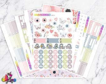 Little Robin Blue    Planner Sticker Kit, Spring Sticker Kit, Planner Stickers, Planner Kit, Bird Stickers, Floral Stickers