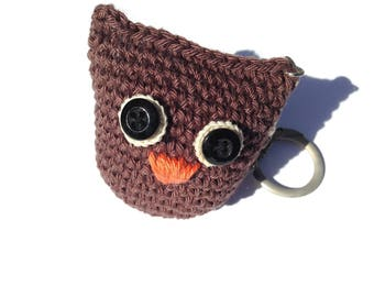 Keychain crocheted little OWL