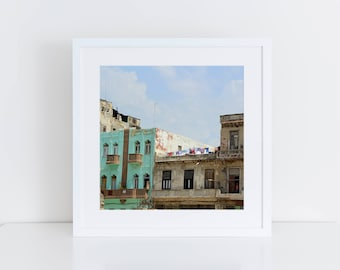 "Havana decor art - ""Aging gracefully"" - Square print - Cuba photography - Cuba color art print - Habana Vieja - Crumbling architecture art"