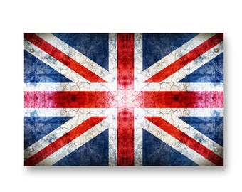 United Kingdom (Union Jack) Flag Graffiti Wall Art Printed on Brushed Aluminum