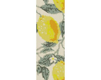 Lemons Peyote Bead Pattern, Bracelet Cuff Pattern, Bookmark Pattern, Seed Beading Pattern Miyuki Delica Size 11 Beads - PDF Instant Download