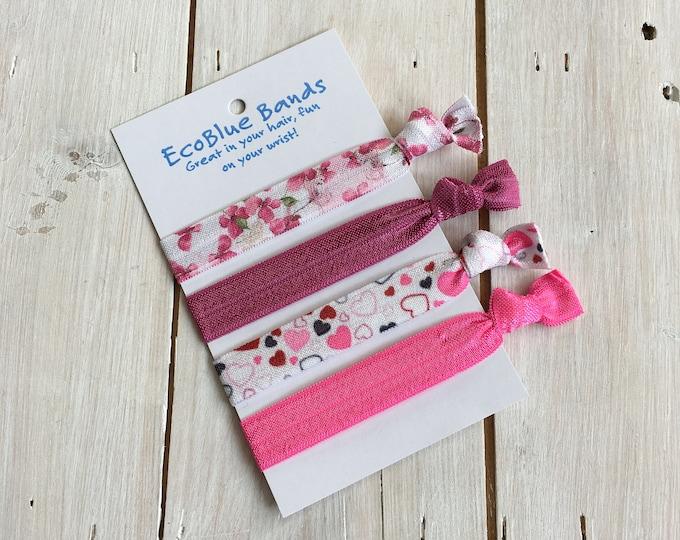 5 hair elastics, soft stretch hair ties, ponies, yoga hair ties, bracelets, ponytail holders - Pink Floral
