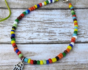 Multicolor Glass Bead Anklet with Hamsa Charm