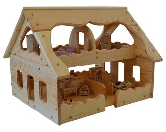 Wooden Dollhouse-Montessori-Wood Dollhouse-Montessori Toys-With 5 Rooms of Dollhouse Furniture